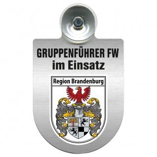 Einsatzschild Windschutzscheibe incl. Saugnapf - Gruppenführer Feuerwehr im Einsatz - 309750 Region Brandenburg