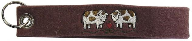 Filz-Schlüsselanhänger mit Stick - Kühe - Gr. ca. 17x3cm - 14094