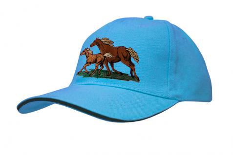 Cap mit gr. Pferde - Stick - galoppierende Pferde - 69248-2 türkis - Baumwollcap Baseballcap Hut Cappy Schirmmütze
