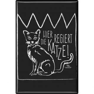 Kühlschrankmagnet Magnet - Hier regiert die Katze - Gr. ca. 8 x 5, 5 cm - 37044 - Küchenmagnet