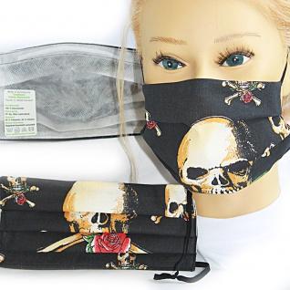 Textil Design-Maske waschbar aus Baumwolle mit Innenvlies - Totenkopf Skull Rosen + Zugabe - 15479