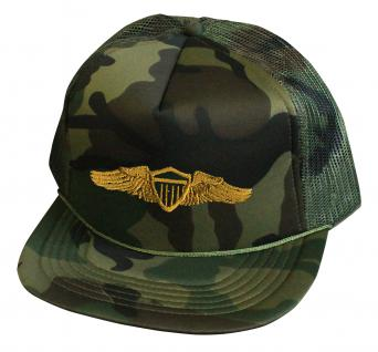 Militarycap Camouflage - Cap mit Stick - Wings Militär Heer - 69205-5 grün - Baumwollcap Baseballcap Hut Cappy Schirmmütze