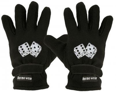 """(40385-56542) Fleece Handschuhe mit Einstickung """" WÜRFEL"""""""