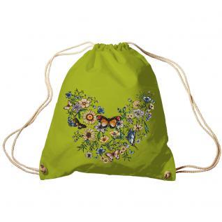 Trend-Bag Turnbeutel Sporttasche Rucksack mit Print -Blumen und Schmetterlinge - TB65321 limegrün