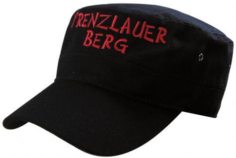 Military - Cap mit Prenzlauer - Stickerei - rot Prenzlauer Berg - 60523 schwarz - Baumwollcap Baseballcap Hut Cappy Schirmmütze
