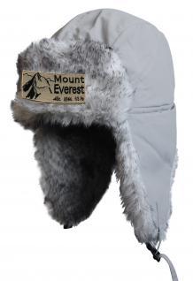 Chapka Fliegermütze Pilotenmütze Fellmütze in grau mit 28 verschiedenen Emblemen 60015 Mount Everest