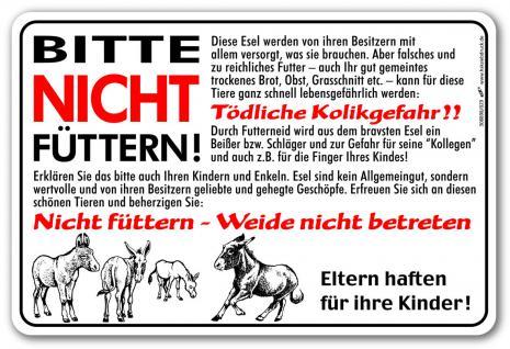 Hinweisschild - Esel bitte nicht füttern - 308898 - Gr. ca. 30 x 20 cm - Tiere