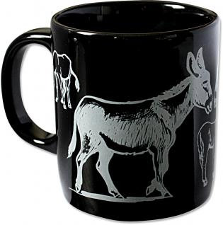 Tasse Keramiktasse Kaffeebecher Sammeltasse Esel schwarz 57311
