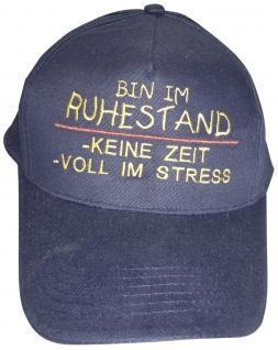 Schirm-Cap mit lustigem Sprüche-Stick - Bin im Ruhestand ... keine Zeit ... voll im Stress - 68465 schwarz - Baumwollcap Baseballcap Hut Schirmmütze Cappy