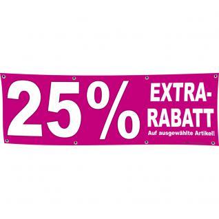 Banner Werbebanner - 25 % Extra Rabatt - 3x1m - Spannband für Ihren Werbeauftritt / Bedruckt mit Ihrem Motiv - 309926