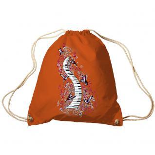 Trend-Bag Turnbeutel Sporttasche Rucksack mit Print -Klavier und Vögel - TB09018 Orange