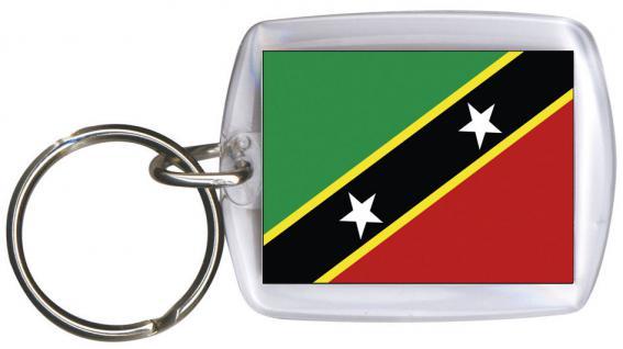 Schlüsselanhänger - ST KITTS UND NEVIS - Gr. ca. 4x5cm - 81156 - Anhänger Flaggen WM Länder Keyholder