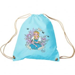 Trend-Bag Turnbeutel Prinzessin Blumenwiese 65084 hellblau