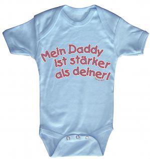 Babystrampler mit Print ? Mein Daddy ist stärker als deiner ? 08323 blau - 0-6 Monate
