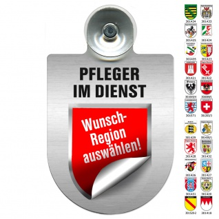 Einsatzschild Windschutzscheibe incl. Saugnapf - PFLEGER IM DIENST Region Berlin