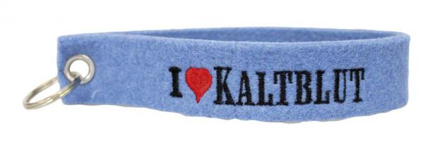 Filz-Schlüsselanhänger mit Stick I love Kaltblut Gr. ca. 17x3cm 14101 blau