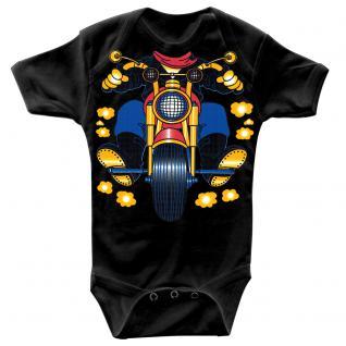 Baby-Body mit Druckmotiv Motorrad in 4 Farben und 4 Größen B12780 schwarz / 0-6 Monate