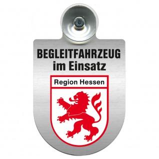 Einsatzschild Windschutzscheibe incl. Saugnapf - Begleitfahrzeug im Einsatz - 309457 - Region Hessen