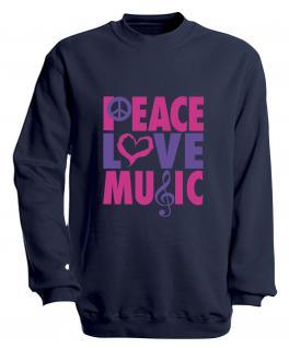 Sweatshirt mit Print - Peace Love Musik - S09017 - versch. farben zur Wahl - Gr. Navy / XL
