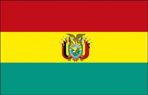 Autofahne - Bolivien - Gr. ca. 40x30cm - 78027 - Länderflagge mit Klemmstab, Fahne, Autoländerfahne