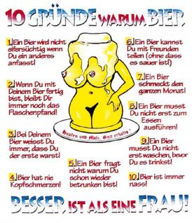 PVC Aufkleber Fun Auto-Applikation Spass-Motive und Sprüche - 10 Gründe warum Bier... - 303455 - Gr. ca. 10 x 12 cm