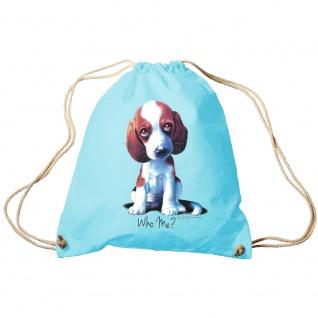 Trendbag Sporttasche Turnbeutel Print Hundewelpen Beagle Who Me ? 65142 versch. Farben hellblau