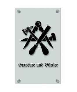 Zunftschild Handwerkerschild - Graveure und Gürtler - beschriftet auf edler Acryl-Kunststoff-Platte ? 309437 schwarz