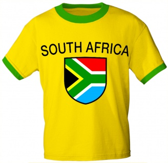 T-Shirt mit Print - Wappen Flagge Fahne South Africa - Südafrika - 76437 gelb Gr. S