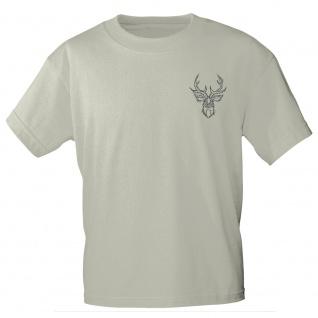 T-Shirt mit Print Hirschkopf mit Geweih - 11911 sandfarben Gr. S-2XL