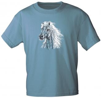 Kinder T-Shirt mit Print - Haflinger - 06953 - hellblau - aus der ©Kollektion Bötzel - Gr. 134/146