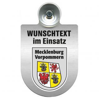 Einsatzschild für Windschutzscheibe incl. Saugnapf - Wunschtext...Eigener Text - Wappen nach Wahl - 309470 Region Mecklenburg-Vorpommern