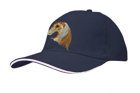 Cap mit gr. Pferde - Stick - Pferdekopf - 69241-1 blau - Baumwollcap Baseballcap Hut Cappy Schirmmütze