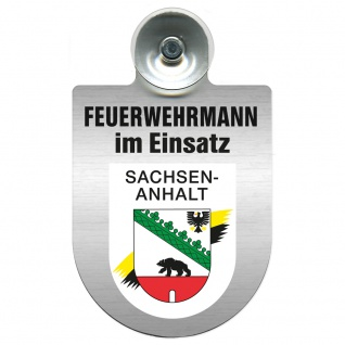 Einsatzschild Windschutzscheibe incl. Saugnapf - Feuerwehrmann im Einsatz - 309731 Region Sachsen-Anhalt