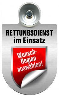 Einsatzschild Windschutzscheibe incl. Saugnapf - Rettungsdienst im Einsatz - incl. Regionen-Wappen nach Wahl - 309354