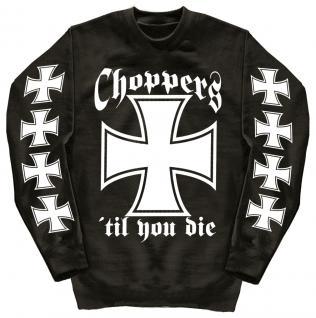 Sweatshirt mit Print - Choppers - 10116 - versch. farben zur Wahl - schwarz / M