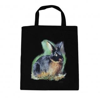 Baumwolltasche mit Print Kaninchen Hase Schwarzloh B06972 schwarz