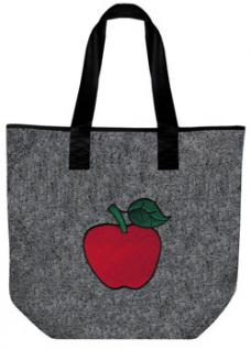 Filztasche mit Stickmotiv - ROTER APFEL - 26039 - Umhängetasche Tasche Shopper Bag - Vorschau