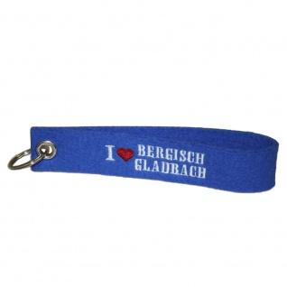 Filz-Schlüsselanhänger mit Stick I love Bergisch Gladbach Gr. ca. 17x3cm 14307 blau
