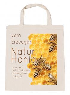 (08820 naturfarben) BW Tasche Umwelttasche mit Motivdruck - NATURHONIG vom Erzeuger - Baumwolltasche Shopper Imker
