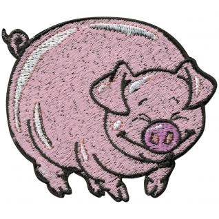 Aufnäher - Ferkel Schwein Sau - 00965 - Gr. ca. 7, 5cm x 6, 5cm