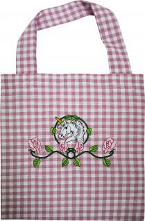 Kindertasche mit Einstickung - EINHORN Rosenranken - Gr. ca. 22cm x 37cm - 12360 rot-weiß
