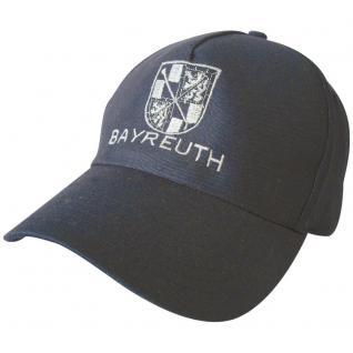 Baumwollkappe mit großem Stick - Wappen Bayreuth - 68824 schwarz - Baumwollcap Schirmmütze Cappy Baseballcap Cap