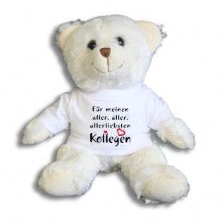 Teddybär mit Shirt - Für meinen aller, aller, allerliebsten Kollegen - Größe ca 26cm - 27172 weiß