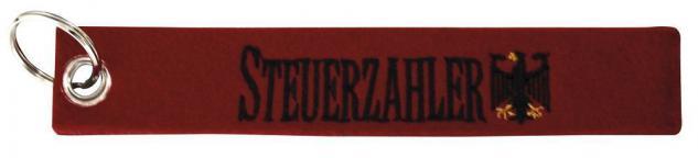 Filz-Schlüsselanhänger mit Stick STEUERZAHLER Gr. ca. 17x3cm 14135 Keyholder rot