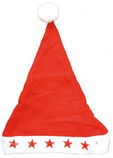 Nikolausmütze mit leuchtenden Sternen - 50399 - Rot