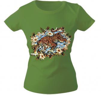 Girly-Shirt mit Print - Tiger - 10973 - versch. farben zur Wahl - Gr. S-XXL grün / XS