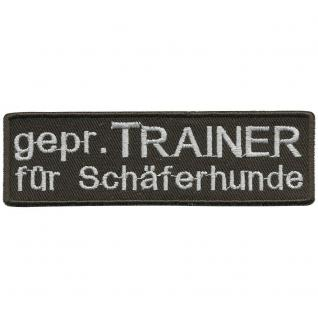 Aufnäher Applikation edles Stick-Emblem Patch - 01724 - Gr. ca. 10, 5 x 3 cm - TRAINER SCHÄFERHUND