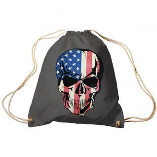 Trend-Bag Turnbeutel Sporttasche Rucksack mit Print - USA Skull Totenkopf - TB653111 grau