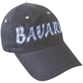 Baseballcap mit Stick - BAVARIA - 68932 blau - Cap Kappe Baumwollcap