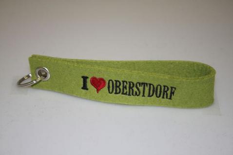 Filz-Schlüsselanhänger mit Stick - I love Oberstdorf - Gr. ca. 17x3cm - 14326